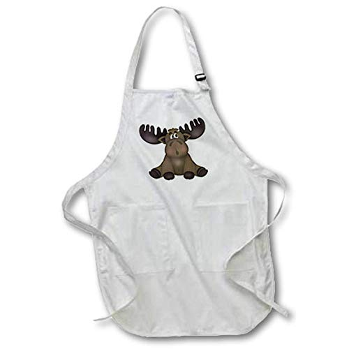 3dRose Anne Marie Baugh - Illustrations - Cute Brown Sitting Baby Moose Illustration - Full Length Apron with Pockets 22w x 30l (apr_317994_1) ()