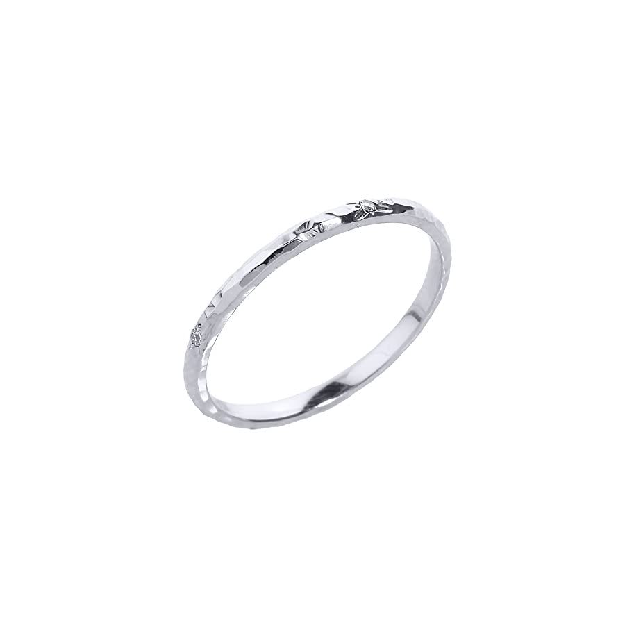 Modern Contemporary Rings Dainty 10k White Gold Hammered Band Stackable Diamond Ring