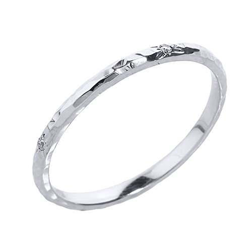 Dainty 14k White Gold Hammered Band Stackable Diamond Ring (Size 6.5)