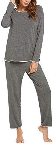 Ekouaer Pajamas Women's Long Sleeve Pajama Set 2 Piece Pajamas Tops with Long Sleep Pants Pjs Loungewear Sleepwear