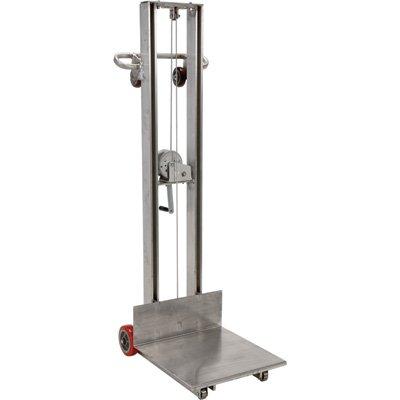 "Vestil ALLW-2020-FW Aluminum Lite Load Lift Winch, 3-1/4"" - 58"" Height Range, 20"" Length x 20"" Width Platform, 400 lbs Capacity from Vestil"