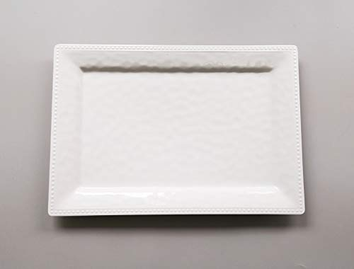 Emboss effectSet of 2 Melamine Rectangular Serving Trays/Platters - White (2)