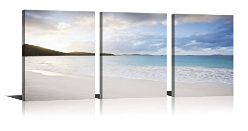 Sun Oil Painting - YPY Oil Painting Blue Sea White Color Sunset On The Beach Wall Art On Canvas for Home Décor Hang In The Living Room Bathroom Bedroom Office 12inchx16inchx3pcs