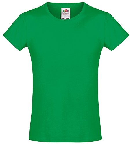 Fruit of the Loom Girls Softspun T-Shirt - 10 Colours/Age - Kelly Green - 1213