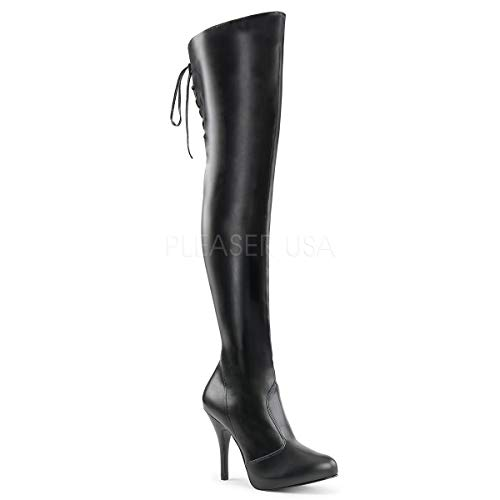 - Pleaser Pink Label Women's Eve312/Bpu Boot, Black Str Faux Leather, 14 M US