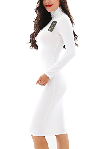 YMING Womens Stretch Party High Necked Bodycon Long Sleeve Dress,White,XL