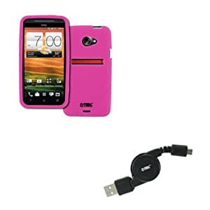 EMPIRE Sprint HTC EVO 4G LTE Silicone Skin Case Cover (Hot Pink) + Retractable USB 2.0 Data Cable [EMPIRE Packaging]