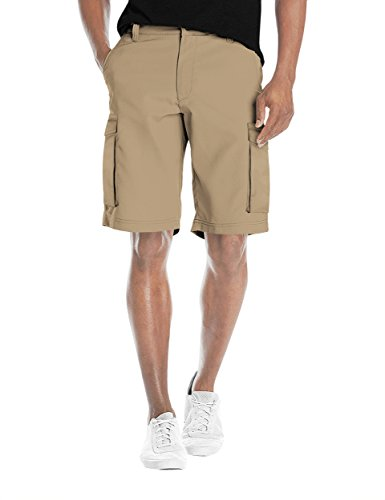 Agile Mens Super Comfy Flex Waist Cargo Shorts ASH45169 British KH 32 (Stretch Belted Cotton)