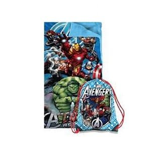 2 Piece Kids Boys Blue Marvel Avengers Superhero Themed Sleeping Bag, Action Characters Sleep Sack Blanket, Captain America Iron Man Hulk Thor Black Widow Super Hero Pattern Bed Roll, Red White Green