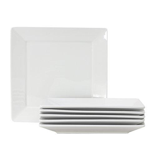 "Tuxton Home Santorini Square Plate 10 1/8"" x 10 1/8"" Porcelain White - Set of 6; Commercial Grade Nonporous Virtrified China;"