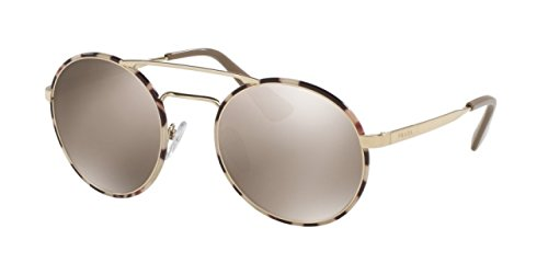 Prada PR51SS Sunglasses UAO1C0-54 - Pale Gold/tortoise Frame, Light Brown Mirror Gold - Prada Gold Tortoise Lens
