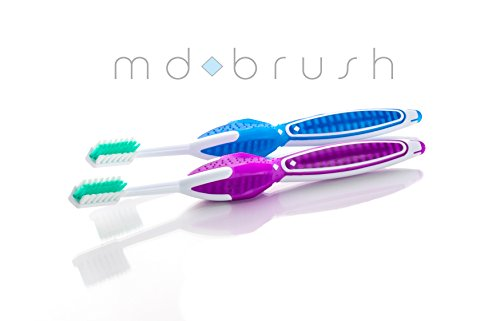 MD BRUSH (2) Precision Toothbrush for Healthy Teeth and Gums. Featured on NPR and Preferred by 8 of 10 Dental Hygienist. Promotes 45 Degree Angle to Clean Below Gum line. 3 Patents.