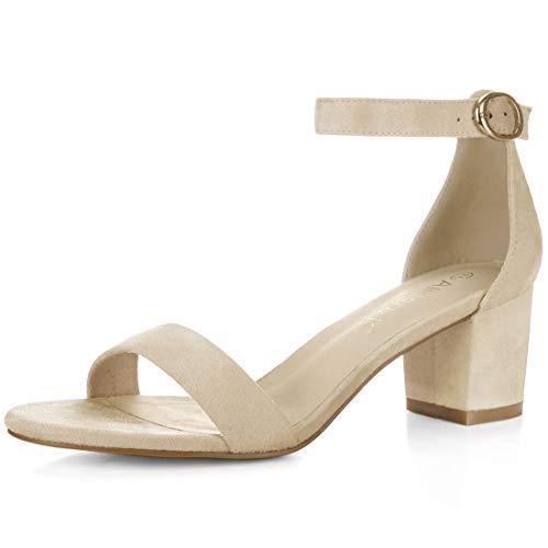 Allegra K Women's Open Toe Mid Block Heel Ankle Strap Sandals (Size US 10.5) Beige