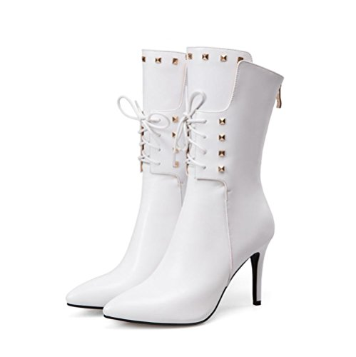 Estilo Best mujer Zapatos Casual estrecha Negro Boots Blanco de Remache cuero de Rojo white genuino Martin 4U® Stiletto de punta 4RrRg