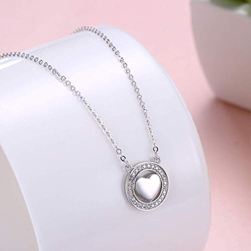 Price comparison product image Classic NecklaceOrnament Elegant Necklace Taobao Europe and America Jewelry s925 Sterling Silver Romantic Heart-Shaped Diamond Pendant Necklace Necklace Female (Color : White Gold)