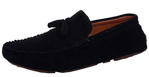 Idifu Mens Frange Casual Low Top Slip On Mocassini In Finta Pelle Scamosciata Neri
