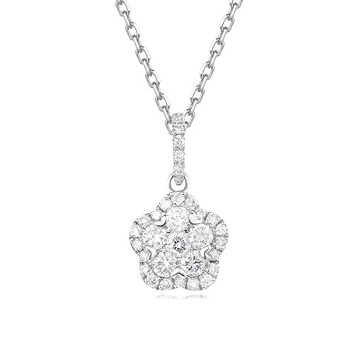 Carleen 18k Solid White Gold Flower Diamond Pendant Necklace for Women Girls (0.322cttw, I-J Color, SI Clarity), 16