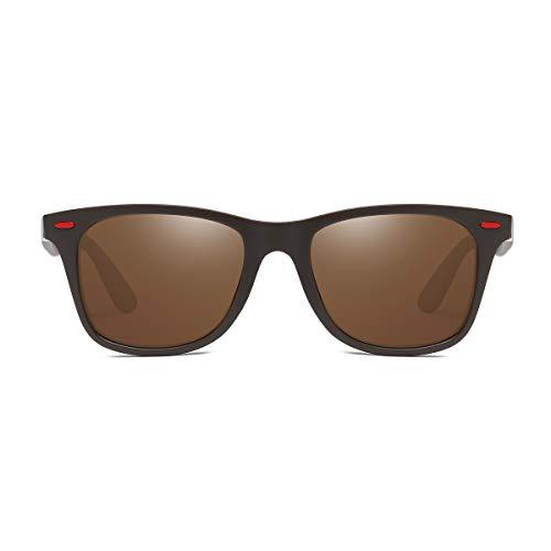 sol para Frame Mujer Gafas Brown Gafas Lens Hombre BLEVET Clásico Polarizadas Retro BE007 y de Coffee S1Wwfqp