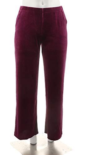 Dennis Basso Wide Leg Stretch Velvet Pants Pockets Knit Deep Plum L New A298251 from Dennis Basso
