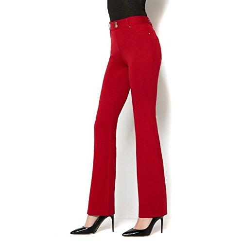 Iman Platinum Ponte Mesh Slimming Boot-Cut Pant RED Cabernet 10 AVG New 575-531