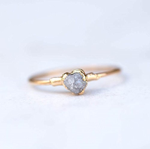 Stackable Raw Diamond Ring, Size 8, Yellow Gold, Rough Grey Diamond