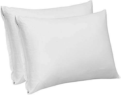 Utopia Bedding Premium Cotton Zippered Pillow Cases/Covers 300 Thread Count Pack of 2 Elegant Design- Hotel Quality- Pure Natural Cotton (King, White)