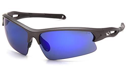 (Venture Gear Monteagle Safety Sunglasses, Gun Metal Frame, Ice Blue Mirror Anti-Fog Lens)