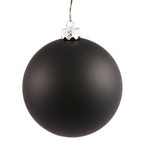 Vickerman Drilled UV Matte Ball Ornaments, 2.75-Inch, Black, 12-Pack
