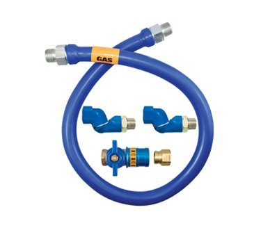 Dormont 1675BPCF2S48 3/4'' Blue Hose Moveable Gas Connector Hose 48'' Long with Blue Antimicrobial PVC, 2 Swivel MAX & Safety Quik QDV