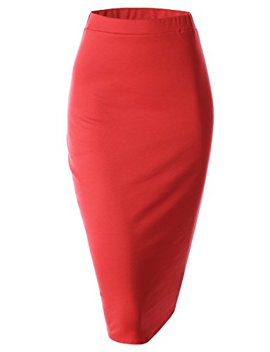 Doublju Elastic Waist Scuba Slim Fit Stretchy Pencil Midi Skirt (Plus size available)