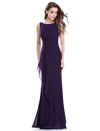 Ever-Pretty Women's Rouched Waist Elgant Maxi Dress 14 US Dark Purple