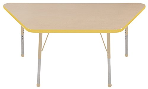 "ECR4Kids Mesa Premium 30"" x 60"" Trapezoid School Activity Table, Standard Legs w/ Ball Glides, Adjustable Height 19-30 inch (Maple/Yellow/Sand)"