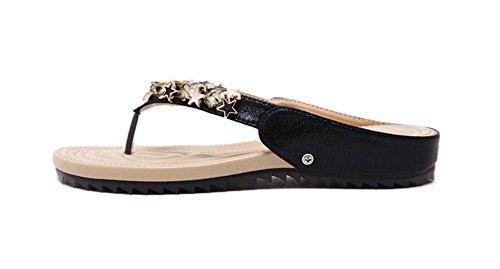 sandalias de modelos femeninos de cuentas zapatillas de suela blanda zapatos planos cómodos Black