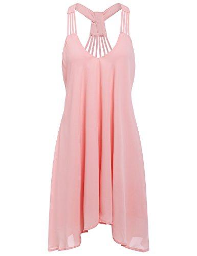 ROMWE Women's Summer Sexy Sleeveless Strappy Swing Dress Pink L