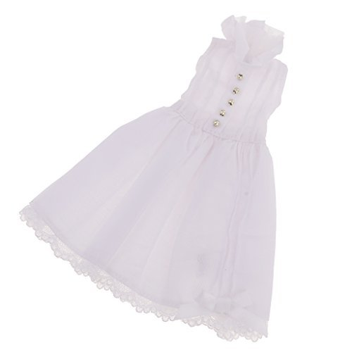 MonkeyJack 1/6 Adorable Cute White Sleeveless Dress w/ Lace Outfit for 12 Neo Takara Blythe Dolls Dress Up