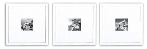 Golden State Art, Smartphone Instagram Frames Collection, Set of 3, 11x11-inch Square Photo Wood Frames with White Photo Mat & Real Glass for 4x4 photo, White