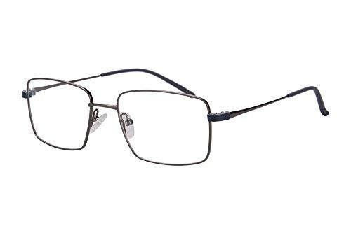 SHINU Lightweight Metal Frame Progressive Multifocus Blue Light Blocking Reading Glasses-SH069(grey, anti-blue up 0.75 down - Light Blue Metal