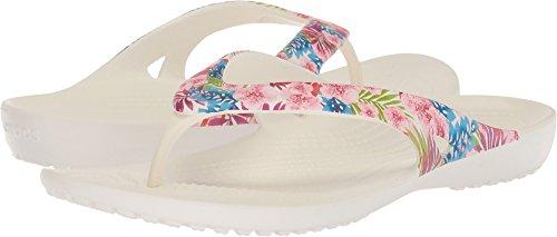 Crocs Women's Kadee II Graphic W Flip-Flop, Tropical Floral/White, 6 M (Floral Flip Flop)