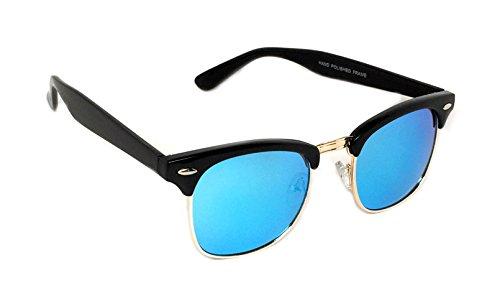 WebDeals - Vintage Classic Half Frame Horn Rimmed Browline Design Sunglasses (Black,Gold / Blue - Review Sunglasses Revo