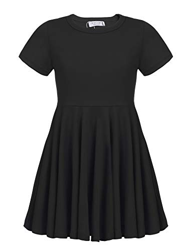 Arshiner Girls Dress Short Sleeve A Line Swing Skater Twirl Summer Dress 2-12 Years Black