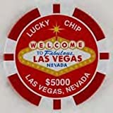 Las Vegas Tin Magnet $5000 Red Poker Chip 2.5'' Across Very Large Silver Dollar Size)