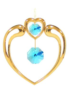 Gold Plated Largel Crystal in Heart Ornament w/ Blue Swarovski Element Crystals