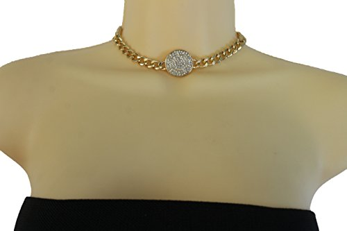 TFJ Women Gold Metal Chain Sexy Fancy Fashion Jewelry Trendy Short Choker Necklace Silver Round Charm (Kim Kardashian Halloween Costume Wonder Woman)