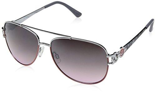 Rocawear Women's R567 SLVCR Aviator Sunglasses, Silver & Coral, 60 (Rocawear Sunwear Metal)