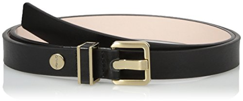 Calvin Klein Women's 20mm Semi-Shine Belt with Metal Loop with Leather Inlay, Black, Large