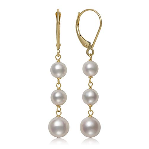 - 14K Yellow Gold White Cultured Freshwater Pearl Trio Dangle Drop Earrings