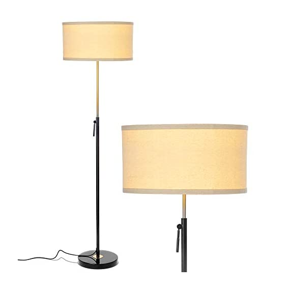 """Brightech Telescope - Black & Gold Modern Floor Lamp for Bedroom - Tall, Height Adjustable Pole Light for Living Room & Office Lighting - Standing Lamp, Antique Brass - with LED Bulb - UNIQUE MODERN DESIGN THAT LOOKS GREAT WITH ANY DECOR: The Brightech Telescope LED Floor Lamp is stylish, unique, and convenient too, and will get your guests talking about all its amazing features. The gold accents on the pole, base, and socket stand out in either color and create a touch of elegance in any space. The height adjustable pole means that you can set the scene exactly how you want it. It's pairs well with modern, minimalist, contemporary, and rustic decor schemes. BEAUTIFUL WARM LIGHT FOR HOME & OFFICE; FITS IN NARROW SPACES An alternative to unpleasant overhead lights, the Telescope LED lamp provides soft yet plentiful room lighting to enlighten your indoor space. It's perfect for bedrooms or living rooms, and the slim design allows for easy placement. It fits perfectly behind sofas or next to end tables, to shine overhead with a warm, inviting glow that isn't harsh or glaring. SPECS: ALEXA & GOOGLE COMPATIBLE, HEAVY BASE, 65"""" TALL: Works with smart outlets that are Alexa, Google Home Assistant, or Apple HomeKit enabled, to turn on/off. (Requires smart outlet sold separately.) Brightech designed this lamp with safety in mind. Its weighted base keeps it from tipping easily. Shade 9"""" tall by 18"""" diameter. - living-room-decor, living-room, floor-lamps - 31tQtJ2bzoL. SS570  -"""