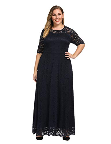 Chicwe Women's Plus Size Stretch Lined Scalloped Lace Maxi Dress – Evening Wedding Party Cocktail Dress (Navy, 3X)