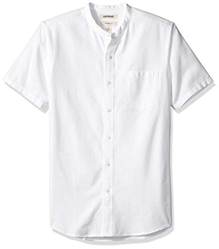 Goodthreads Men's Slim-Fit Short-Sleeve Band-Collar Oxford Shirt, -white, Medium (Collar Band Shirt)