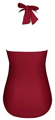 Size Maillots 46 Bain Vin 48 Pin Une eu 5xl Pièce Maillot Angerella Rouge Vintage tag De 50s Up Backless SABZnH
